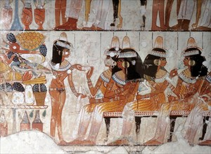 1890. COURT LADIES AT A BANQUET, WALL PAINTING FROM THE TOMB OF PASHED, THE RAAMSEID PERIOD