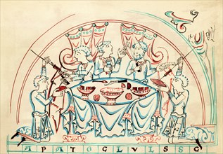 Colour Illustration; Anglo-Saxon Banquet; 11th Century Source; MS Cotton Tiberius C vi;