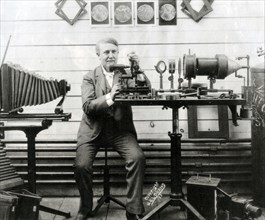 THOMAS EDISON  (1847-1931) US scientist, inventor and businessman here working on a system for macro photography