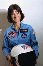 NASA Astronaut Sally Ride takes a break from training as a mission specialist for NASA's STS-7 spaceflight May 9, 1983.