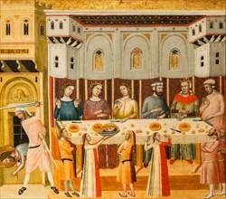 The Feast of Herod and the Beheading of the Baptist - John Baptist Master (Italia) Tempera on wood