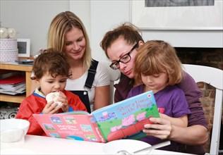 2 women reading to their kids