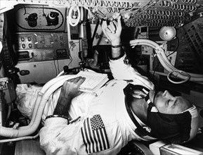 Astronaut Michael Collins prepares for flight