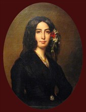 Portrait of George Sand (1804-1876) French novelist and memoirist. She is equally well known for her much publicized romantic affairs with a number of artists including the pianist Frédéric Chopin and...