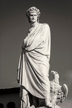 The statue of Dante Alighieri, father of Italian language, Florence, Tuscany, Italy.