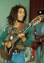 BOB MARLEY (1945-1981) Jamaican reggae musician in 1980. Photo van Houten