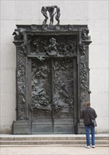 """""""The Gates of Hell"""" by Rodin, installed in the gardens at the Rodin Museum in Paris, France."""