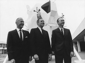 These three astronauts have been selected by NASA as the prime crew of the Apollo 11 lunar landing mission. L-r, are Edwin Aldrin, Jr., lunar module pilot; Neil A. Armstrong, commander; and Michael Co...