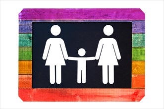Lesbian family with child white sign on a blackboard, rainbow gay flag colors