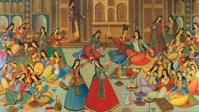 A 17th century Safavid painting, depicting women playing musical instruments at a banquet in Hasht Behesht.
