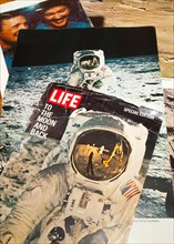 Life Magazine  article on America's Moon Landing 1969, Man on the Moon with Mission commander Neil Armstrong and pilot Buzz Aldrin