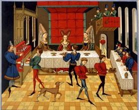 """Superstitions - Touching food with hands. Lithograph of French 15th century manuscript """"Roman de Renaud de Montauban"""""""