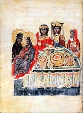 Armenian Christian illustrated manuscript showing the Feast of Cana; the Bible story of the Marriage at Cana, a wedding banquet at which Jesus converts water to wine; 13th century