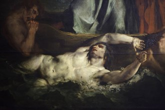 Damned depicted in the detail of the painting 'The Barque of Dante', also known as 'Dante and Virgil in Hell' by French Romantic painter Eugène Delacroix (1822) on display at his retrospective exhibit...