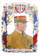 Portrait of Marshal Pétain & French Nationalist Symbols c1940