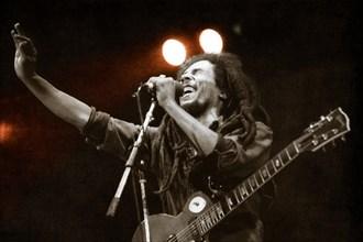 Bob Marley on stage in Drammenshallen, Norway, 1980