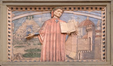 Dante Alighieri is represented in many plates along the streets of Florence, Societa Dante Alighieri Cultural Society Building, Tuscany, Italy