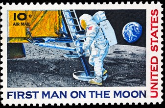 First Man on the Moon, postage stamp, USA, 1969
