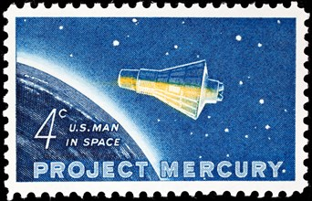 Project Mercury, Friendship 7 Capsule, spacecraft, postage stamp, USA, 1962