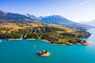 Aerial landscape with Serre-Poncon Lake and Alps, France