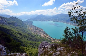 A panoramic view on the Lake Annecy from mont Veyrier to mont Baron hiking track, France. Beautiful Alps mountain landscape