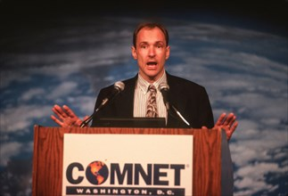 WASHINGTON, DC, USA - FEBRUARY 6, 1997: Timothy Berners-Lee, credited with inventing World Wide Web for internet, testifies before Congress.