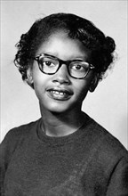 Claudette Colvin (b.1939). Portrait of the pioneer of the 1950s civil rights movement, taken in 1954.  On March 2, 1955, she was arrested at the age of 15 in Montgomery, Alabama, for refusing to give ...