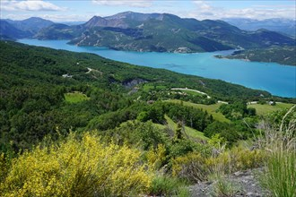 panoramic view of Serre Ponçon lake  in the mountains of southern Alps, France