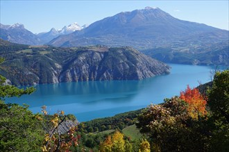 panoramic view of Serre Ponçon lake, France on a fall day