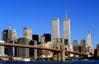 New York Manhattan  twin towers Brooklyn Bridge