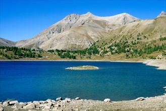 Allos Lake in the Mercantour National Park, Alpes de Haute Provence, France, Europe