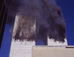 September 11 2001 the burning of the World Trade Center buildings as seen from east side of Manhattan