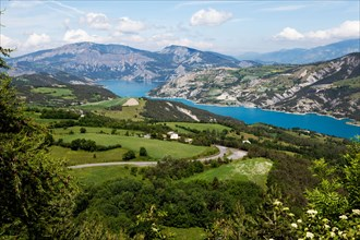 LAC DE SERRE PONCON WITH ITS BEAUTIFUL VALLEY, HAUTE PROVENCE, FRANCE