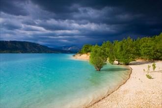 Lac de Sainte Croix, France, Europe, Provence, Alpes-de-Haute-Provence, lake, sea, reservoir, shore, trees, clouds, thunderstorm