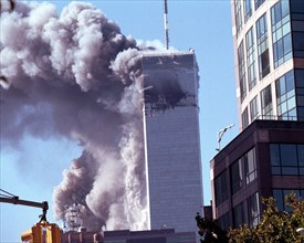 World Trade Center terrorism on September 11, 2001. Tower number two collapses