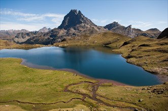 France, Pic du Midi d'Ossau and Lake Gentau is a lake in Pyrénées-Atlantiques,. At an elevation of 1947 m,