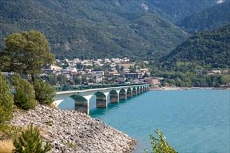 Bridge over the Lac du Serre Poncon, Hautes Alpes, France