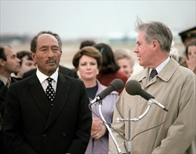US secretary of State Cyrus Vance receives Egyptian President Anwar Sadat. 1980