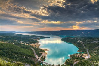 The turquoise waters of Lake Sainte-Croix at sunset, Provence, France