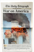 English newspaper announcing the September 11th attacks on New York