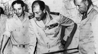 Egyptian President Anwar Sadat at military HQ during Egypt's attack on Israel during the October 1973 Arab-Israeli War