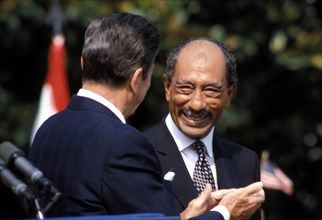 Aug 06, 1981; Washington, DC, USA; United States Republican President RONALD REAGAN and President of Egypt ANWAR EL-SADAT during his state visit to the US.. (Credit Image: KEYSTONE Pictures USA/ZUMAPR...