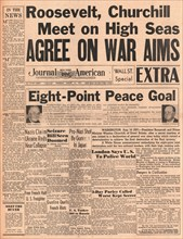 1941 New York Journal American front page reporting Winston Churchill and Roosevelt's Atlantic Charter talks
