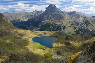 Peak du Midi d'Ossau and the lake Gentau in the Atlantic Pyrenees