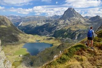 Peak du Midi d'Ossau and the lake Gentau in the Bearn Pyrenees