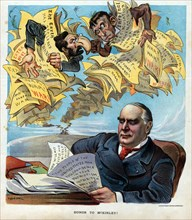 Honour to McKinley!' Joseph Pulitzer and a monkey, possibly meant to represent William R. Hearst, as editors of yellow journalism newspapers wrapped up in their papers with outrageous headlines, calli...