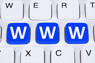 Internet www world wide web online on computer keyboard