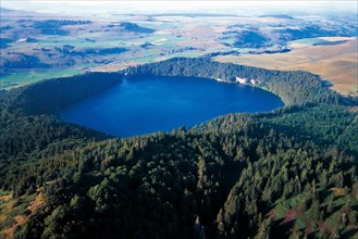 Pavin lake, a crater lake in Puy-de-Dome, Auvergne, France.
