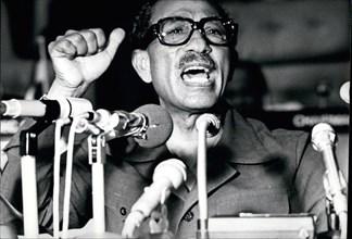 Dec. 26, 1975 - Egypt Sadat: Anwar El-Sadat, President Of Arab Republic of Egypt addressing the OAU Conference in Monrovia, Liberia. Credit: Camerapix. © Keystone Pictures USA/ZUMAPRESS.com/Alamy Live...