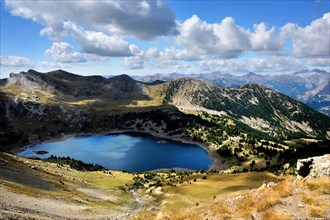 Panorama view with mountain lake Allos, French Alps, France